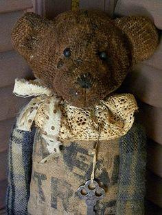 Primitive Bear, Bear, Teddy Bear, Primitive Teddy Bear, Prim, Teddy, Plush, Upcycled, Recycled, Grungy, Vintage Bear
