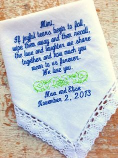 Grandma or Mom from Bride Wedding heirloom handkerchief custom embroidered personalized hankie gift embroidery parents, $30.00