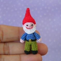 *** This is a PDF CROCHET PATTERN and NOT the finished item *** This Garden Gnome is JUST 48mm tall.  The pattern is written in english (US terms). The instructions are detailed and easy to follow if you know the basic stitches and techniques used to make amigurumi (work single crochet in a spiral, increase and decrease).  Pattern is available for instant download in Adobe PDF format.  To make it you will need:  - Cotton thread #12 (I used Finca brand); - Black sewing cotton…