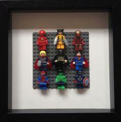 Lego Super Heroes Framed Wall Art Minifigures (Flash, Wolverine, Ironman, Thor, Batman, Superman, Spiderman, Hulk, Captain America)