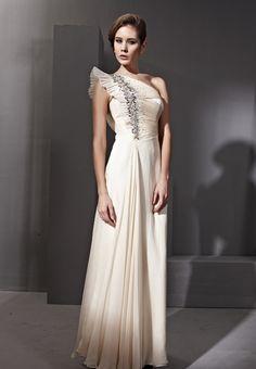 Cream One Shouder Falbala Sleeve Prom Formal Long Evening Dress