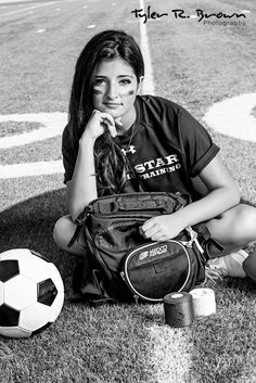 Amazing idea for student athletic trainer senior picture except with a football instead of a soccer ball