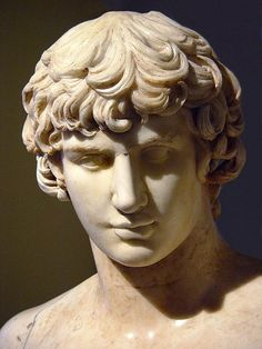 Antinous, roman sculpture. Antinous- Emperor Hadrian's boyfriend. Hadrien had him deified after his death (voluntary sacrifice?) and ordered statues commemorating his beauty made throughout the Roman empire.