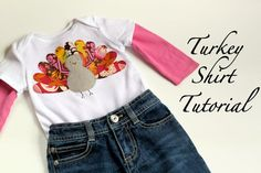 The Cottage Home: Gobble, Gobble: Turkey Shirt Tutorial. Want to make one of these for my mom since Thanksgiving will be her birthday! Just need to find the time. Fall Sewing, Sewing For Kids, Diy For Kids, T Shirt Tutorial, Applique Tutorial, Diy Tutorial, Sewing Blogs, Sewing Tutorials, Sewing Projects