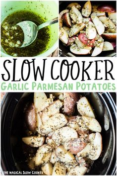 Slow Cooker Garlic Parmesan Potatoes are perfectly seasoned potato wedges that turn out creamy on the inside! #crockpot #slowcooker #themagicalslowcooker Slow Cooker Garlic Parmesan Potatoes, Slow Cooker Potatoes, Crock Pot Potatoes, Crock Pot Slow Cooker, Crock Pot Cooking, Slow Cooker Recipes, Crockpot Recipes, Cooking Recipes, Vegetable Side Dishes
