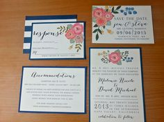 Wedding Invitation Set Botanical/ Floral by SimplyNotedEvanston, $25.00