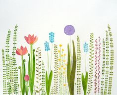 colorful garden- original watercolor on Etsy, $35.00
