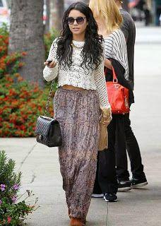 Vanessa Hutchins, maxi, skirts, fashion, summer, High School Musical, shopping, boho, hippie, gypsy, music festival, cross-body, bag, hair, fall