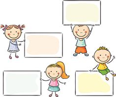 Kids With Blank Signs Ilustración vectorial en stock 216848020 : Shutterstock Kids Vector, Free Vector Art, School Border, Crying Emoji, Kids School Organization, Boarder Designs, Photo Frame Design, Blank Sign, First Grade