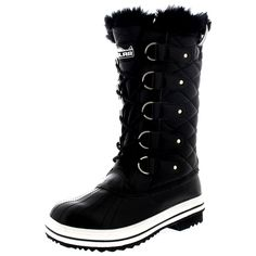 Womens Snow Boot Nylon Tall Winter Snow Waterproof Fur Lined Warm Rain Boot * Unbelievable outdoor item right here!