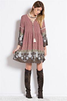 Border Print Baby Doll Dress - Mauve @kinttedbelle #knittedbelle