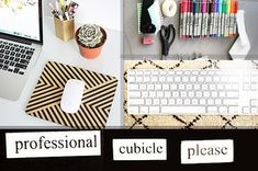 54 Ways To Make Your Cubicle Suck Less. I could def use some of these at work...though I have a desk not a cubicle :)