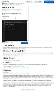 HTML5 JavaScript PDF generation library   'http://jspdf.com/' courtesy )