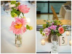 {{Spring centerpieces at Greenhouse Loft in Chicago.  Peonies,snowball viburnum in vintage bottles and weathered wooden boxes.}}  Photography by Greenhouse Loft Photography, greenhouseloft.com || Flowers by Pollen, pollenfloraldesign.com