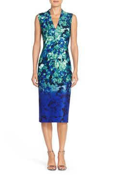 Vince Camuto Floral Print Scuba Midi Dress available at #Nordstrom
