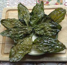 Crisp plantain (Plantago) leaf chips. From: Leda's Urban Homestead.  Interesting site.  ~M