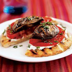 Superfast Vegetarian Recipes | Grilled Portobello-Goat Cheese Pitas | CookingLight.com