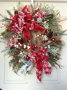 Christmas or Winter Mesh Burlap Wreath by WilliamsFloral on Etsy