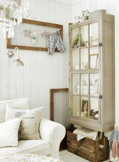 cabinet out of old windows....I'm going to make one of these.