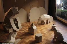 A wildlife scene, which has been created by the Argentinian artists, using only lowpoly paper