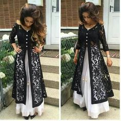 indo Western Crop Top With Jacket Semi-Stitched (Black) - New Arrival Indian Wedding Outfits, Indian Outfits, Indian Clothes, Kurti With Jacket, Casual Dresses, Fashion Dresses, Elegant Dresses, Girl Fashion, Prom Dresses