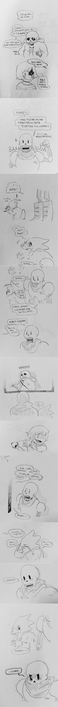 Sans, Chara, Alphys, and Papyrus - comic - http://floats-on.tumblr.com/post/132029119096/au-where-papyrus-is-the-final-boss-of-no-mercy