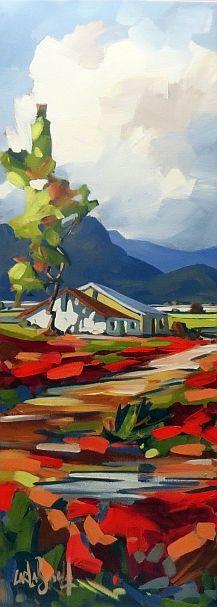 Farm House CARLA BOSCH Oil on Canvas 30x90cm