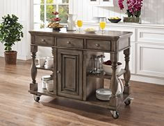 Lowest price on Powell Bourdain Grey Kitchen Cart Shop today! All You Need Is, Powell Furniture, Fresh Guacamole, Pull Out Drawers, Wood Counter, Mdf Wood, Floor Space, Home Furnishings, Storage Spaces