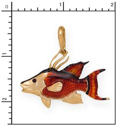 Nautical Jewelry - 14Kt Large Hogfish with Enamel, Fish-Other, 6-204HE