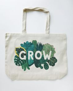Learn more about my GROW tote bag Cotton Bag, Cotton Canvas, New Home Greetings, Over The Shoulder Bags, Market Bag, Embroidery Kits, Large Bags, Canvas Tote Bags