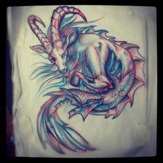 colored capricorn   Colored Capricorn Tattoo Design Drawing