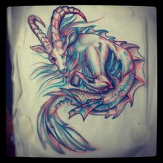 colored capricorn | Colored Capricorn Tattoo Design Drawing