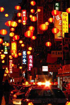 NYC ~ Chinatown. Lanterns at Night.