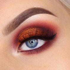 To create this looks I used: Makeup Geek eyeshadows: Poppy, Bitten & Cherry Cola in the crease, Flame Thrower on the lid Makeup Geek Full Spectrum line