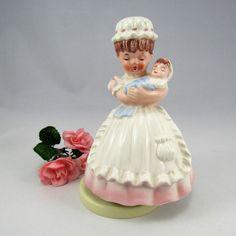 "Very Cute Vintage Sankyo Japan  1970's Ceramic Braham's Lullaby ""Go to Sleep"" Nurse Holding Baby  Music Box.  The Little Nurse spins around! by VintageQualityFinds on Etsy"