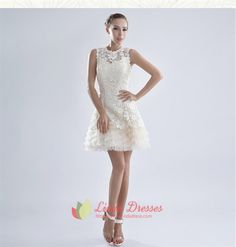 Show details for White Cocktail Dresses With Lace Overlay Sleeves,White Cocktail Dresses With Sleeves