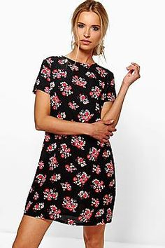 Clarissa Cluster Floral Cap Sleeve Shift Dress