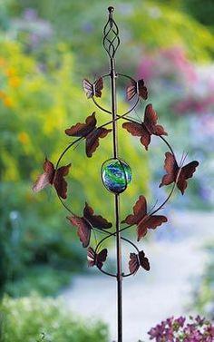 Adornos de exterior para jardin - figura de metal mariposas