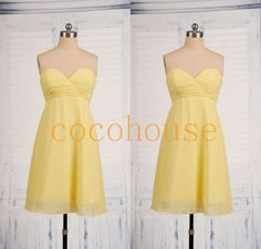 New Short Yellow Chiffon Bridesmaid Dresses Simple by cocohouse, $62.00