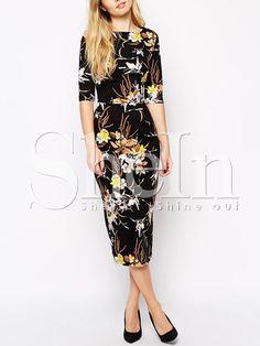 Black Half Sleeve Floral Dress 14.29