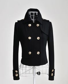 Black military short fitted jacket