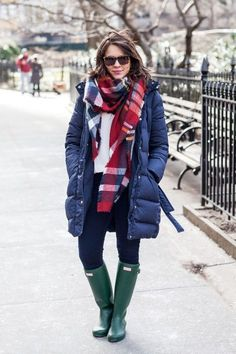 Style your quilted down coat with chunky scarves, boots, and warm sweaters