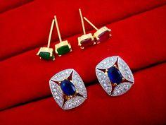 Fashionable SixInOne Changeable Zircon Earrings for Women, Best Anniversary Gift – Buy Indian Fashion Jewellery Fashion Jewellery, Indian Fashion, Women's Earrings, Anniversary Gifts, Amazing Women, Gold Jewelry, Blue, Stuff To Buy, Ornaments