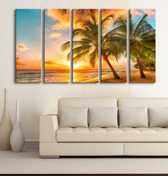 Beach on Sunset and Palm on the island Canvas Art Prints For Wall, 5 Panels Framed Ready to Hang, Prints On Canvas, Large Canvas Print