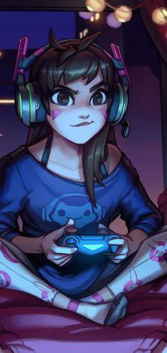 Gaming anime girl