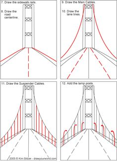 , Bridge Lesson: Draw Your World - Draw Your World - Draw & Write Together , Great excercise for studying Da Vinci and perspective. Draw a Suspension Bridge, Tacoma Narrows. Cc Drawing, Bridge Drawing, Drawing Skills, Perspective Drawing Lessons, Perspective Art, Art Drawings Sketches, Easy Drawings, Desenhos Harry Potter, Art Worksheets