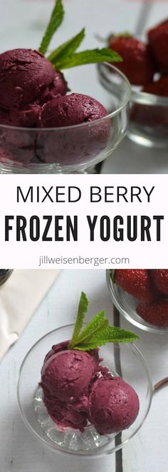 Mixed Berry Frozen Yogurt -- A healthy #dessert made with only two simple ingredients! The perfect sweet treat that is just as nutritious.   @nutritionjill   #berries   #yogurt   #icecream   #frozenyogurt   #sweettreat   #summer   https://jillweisenberger.com/mixed-berry-frozen-yogurt-recipe/