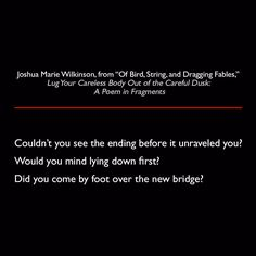 Joshua Marie Wilkinson from Of Bird String and Dragging Fables Lug Your Careless Body out of the Careful Dusk: A Poem in Fragments #quote #poetry #lit #JoshuaMarieWilkinson #LugYourCarelessBodyOutOfTheCarefulDusk