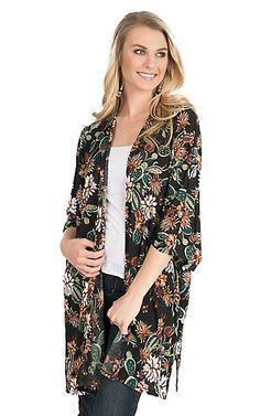 James C Women's Black and Olive Cactus Print Long Sleeve Kimono