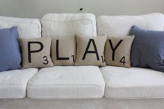 PLAY Letter Pillows Inserts Included by dirtsastudio on Etsy.  As a Scrabble fan, these pillows are a must!